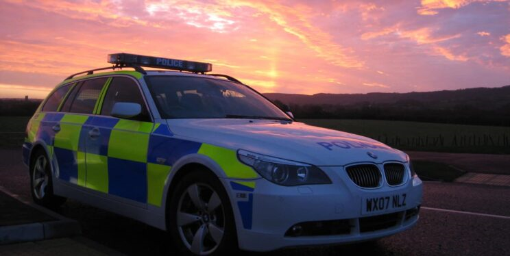 Police car at sunset