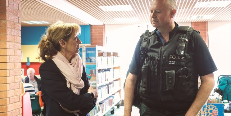 PCC Sue Mountstevens and Police Officer